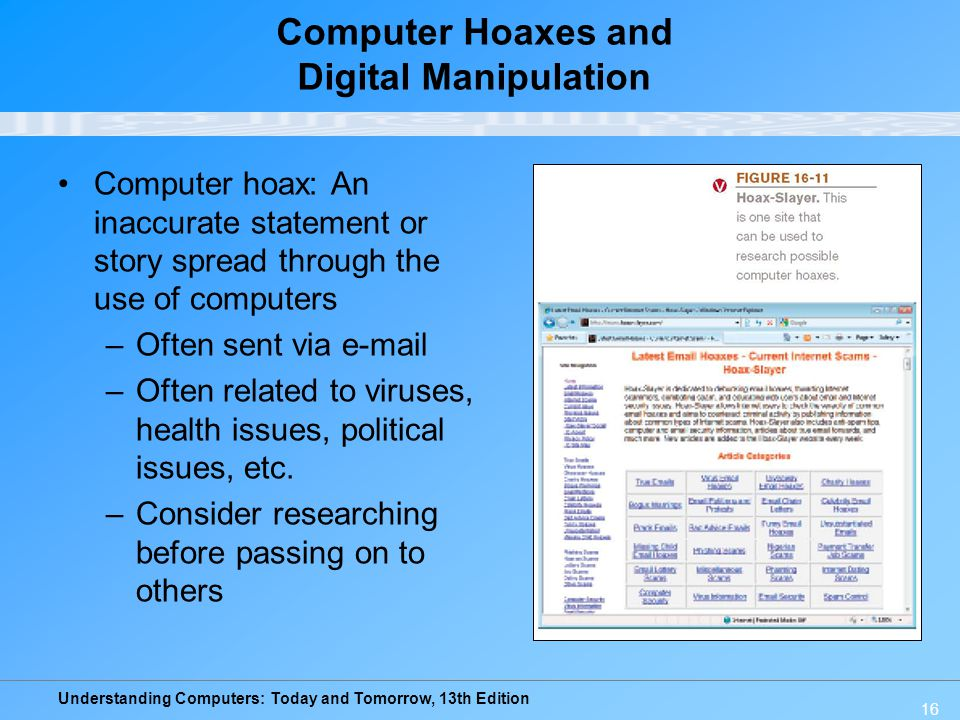Computer Hoaxes and Digital Manipulation