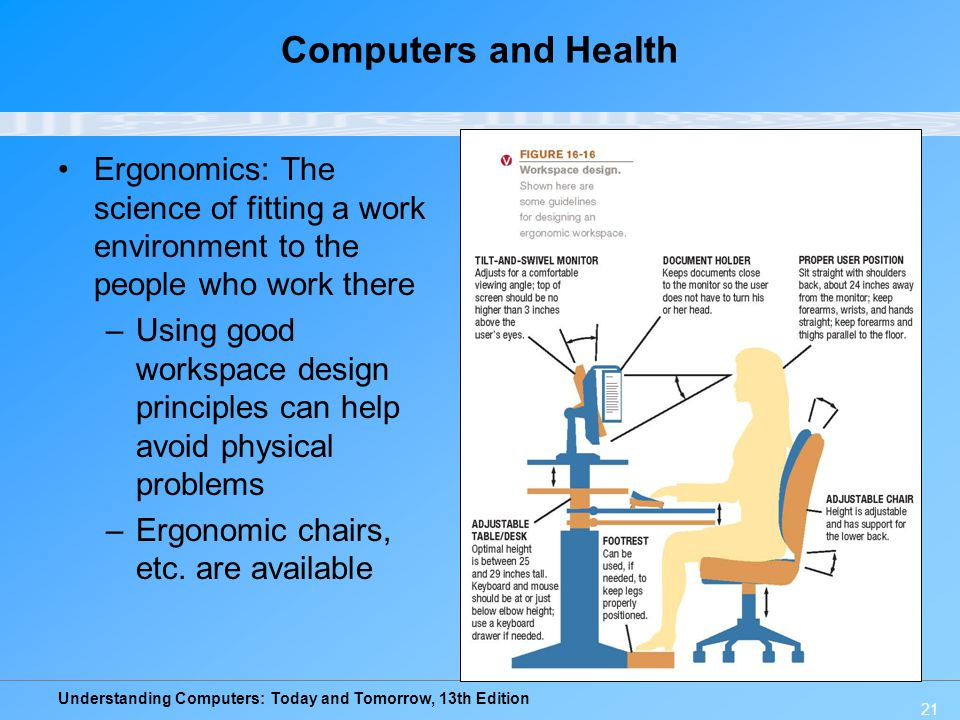 Computers and Health Ergonomics: The science of fitting a work environment to the people who work there.
