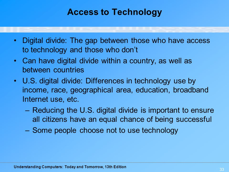 Access to Technology Digital divide: The gap between those who have access to technology and those who don't.
