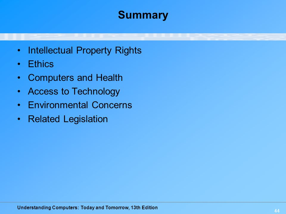 Summary Intellectual Property Rights Ethics Computers and Health