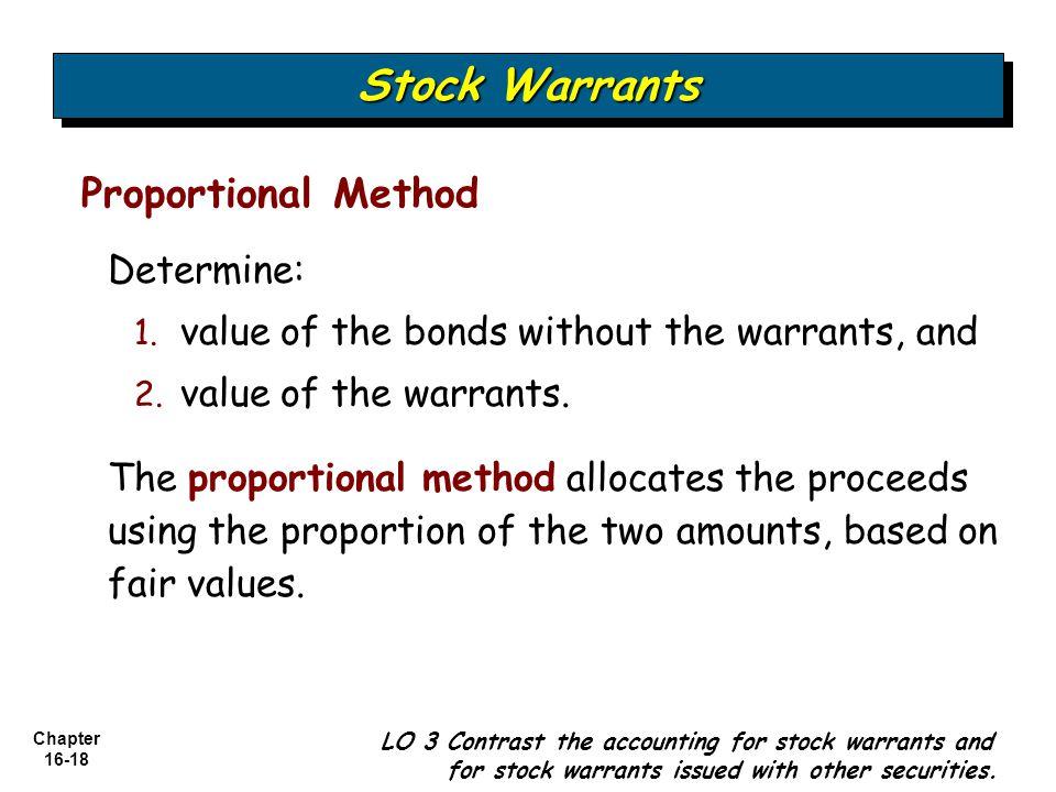 Stock Warrants Proportional Method Determine: