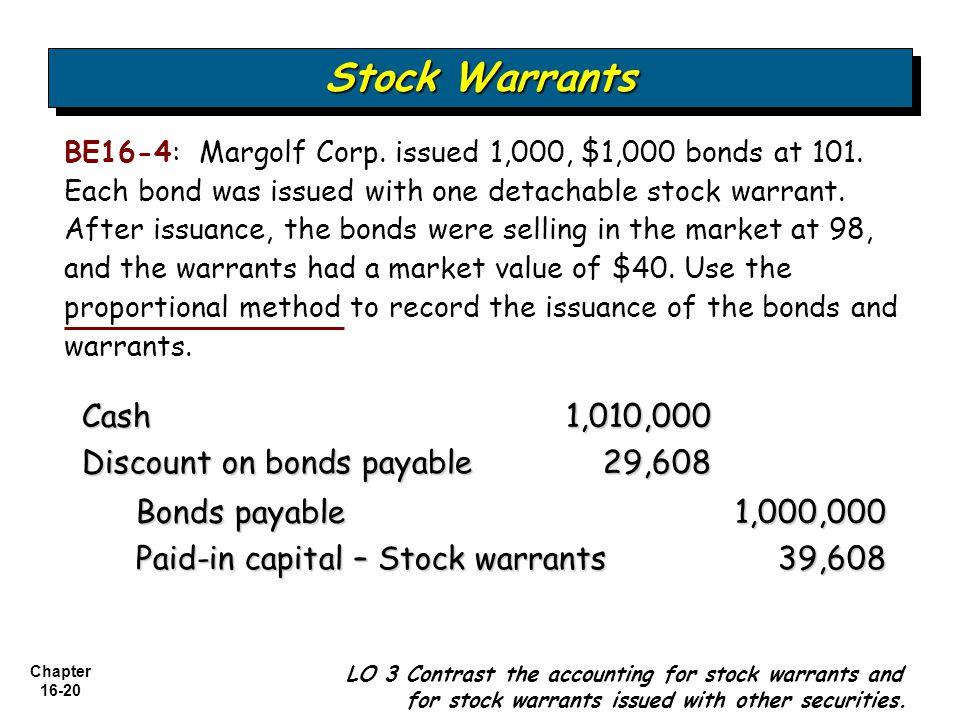 Stock Warrants Cash 1,010,000 Discount on bonds payable 29,608