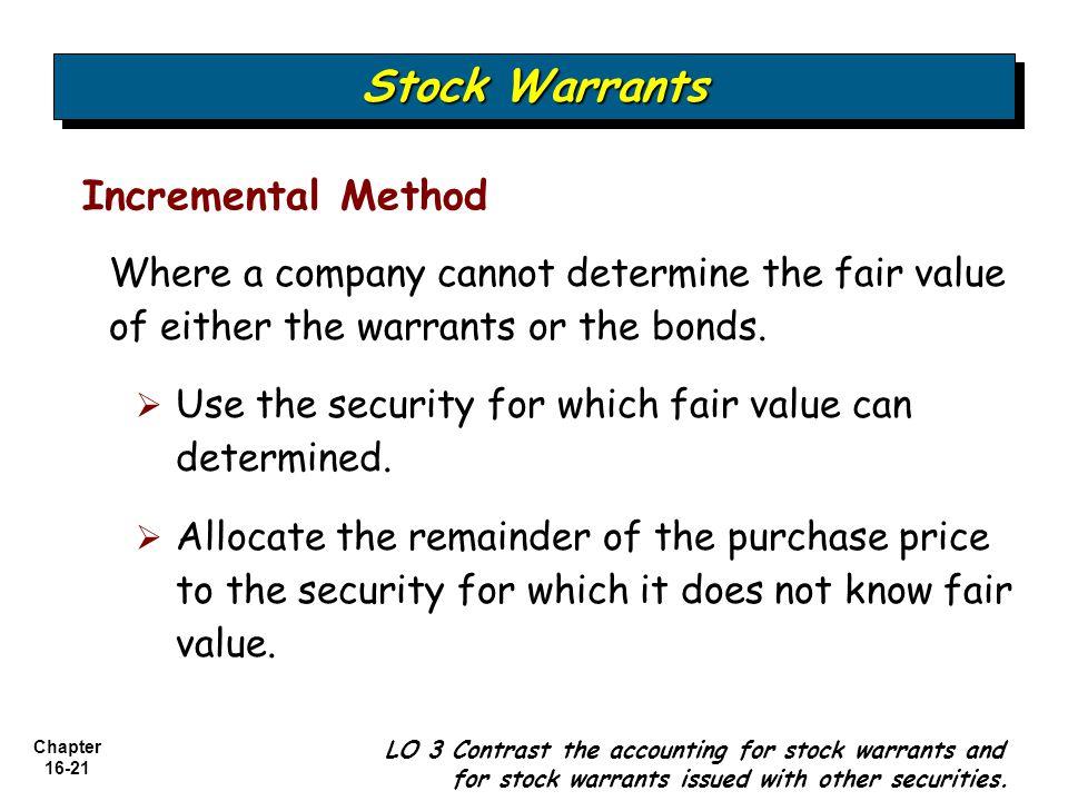 Stock Warrants Incremental Method
