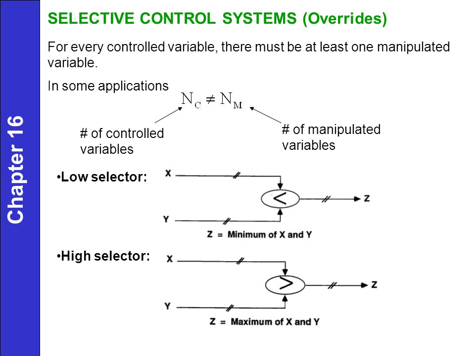 Chapter 16 SELECTIVE CONTROL SYSTEMS (Overrides)
