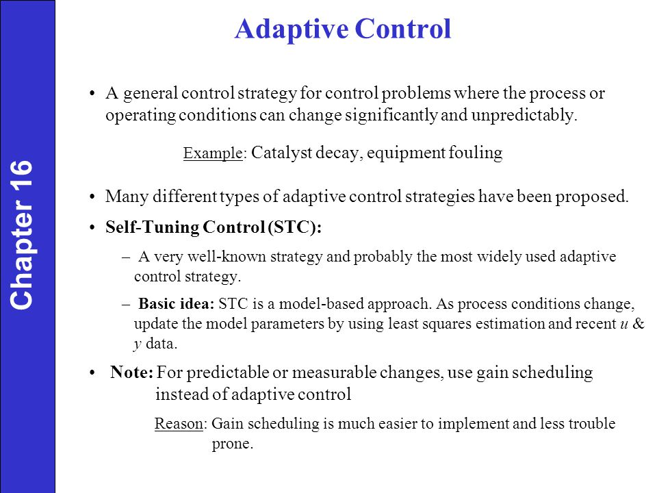Adaptive Control Chapter 16