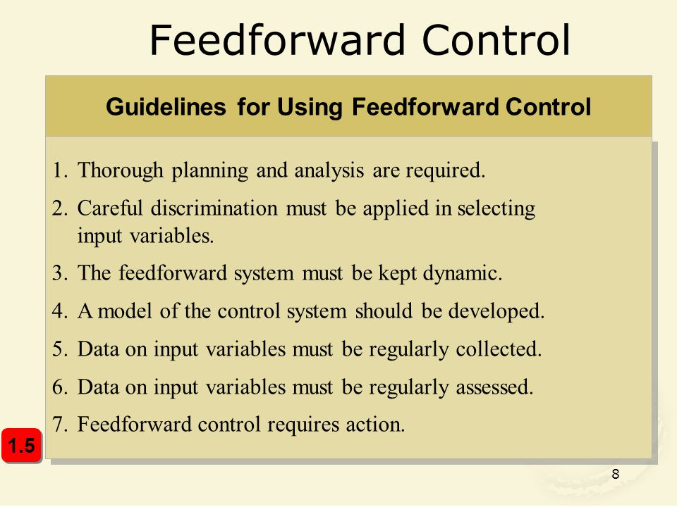 Guidelines for Using Feedforward Control