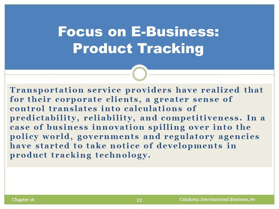Focus on E-Business: Product Tracking