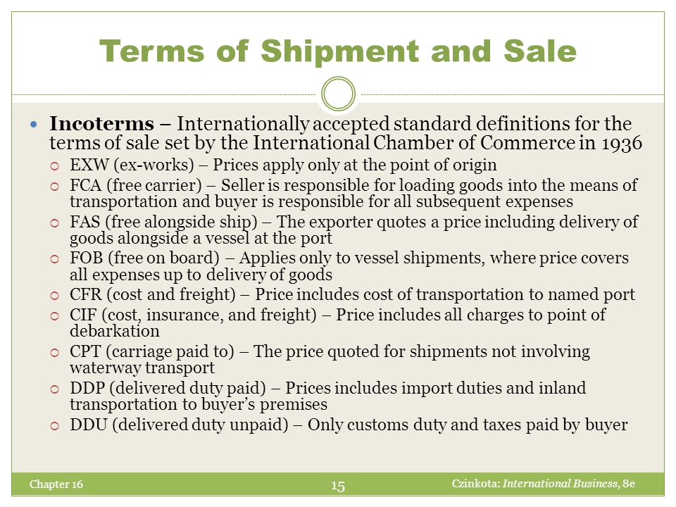 Terms of Shipment and Sale