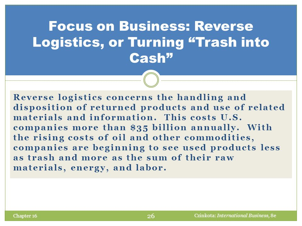 Focus on Business: Reverse Logistics, or Turning Trash into Cash