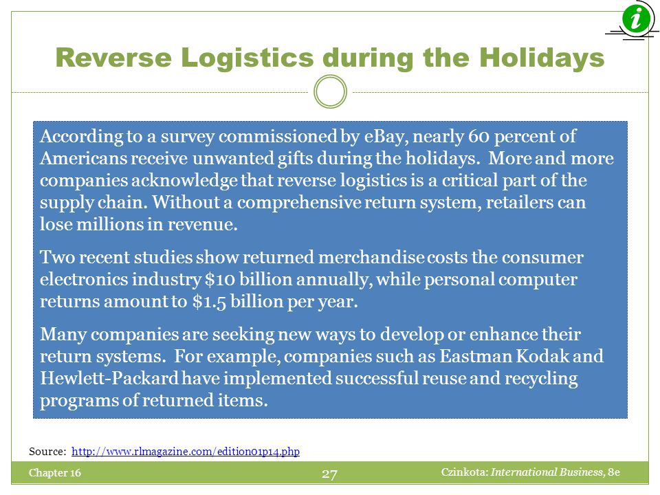 Reverse Logistics during the Holidays