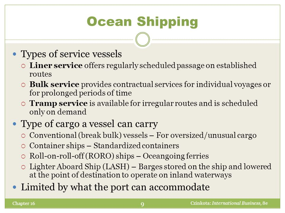 Ocean Shipping Types of service vessels