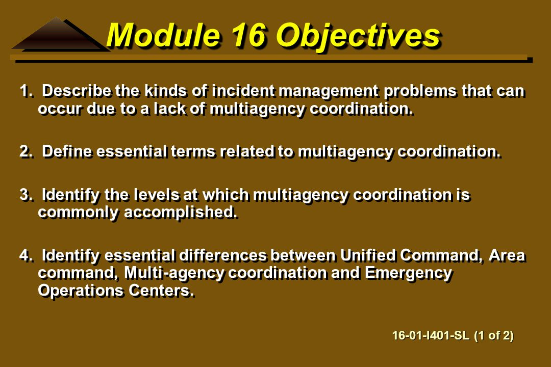 Module 16 Objectives 1. Describe the kinds of incident management problems that can occur due to a lack of multiagency coordination.