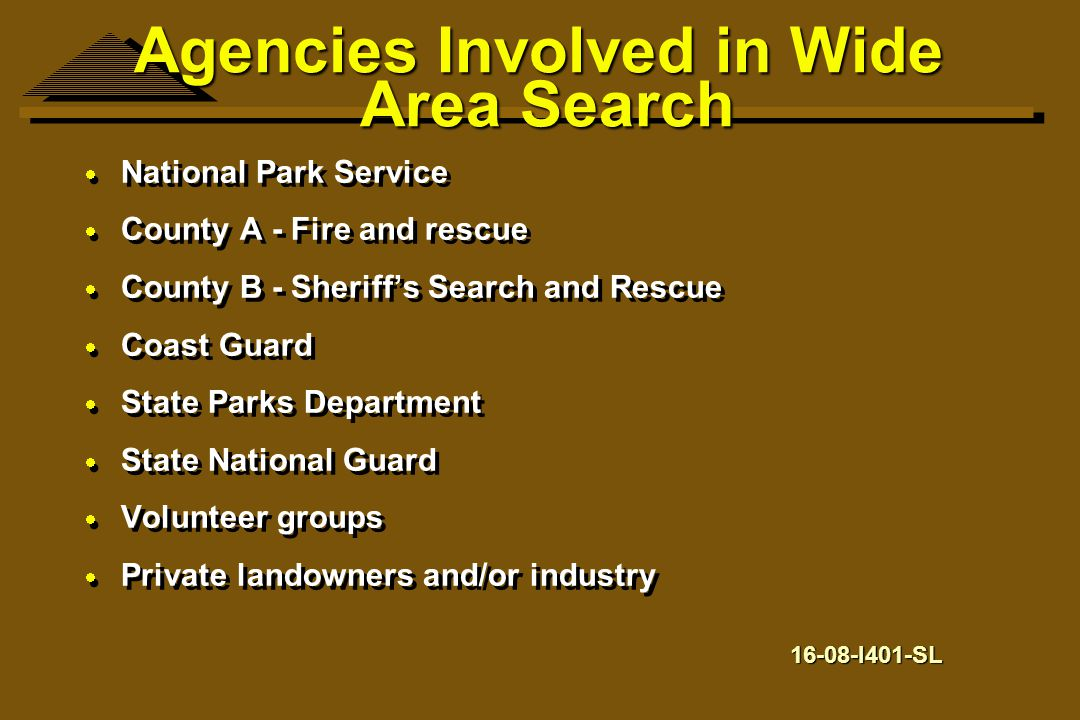 Agencies Involved in Wide Area Search