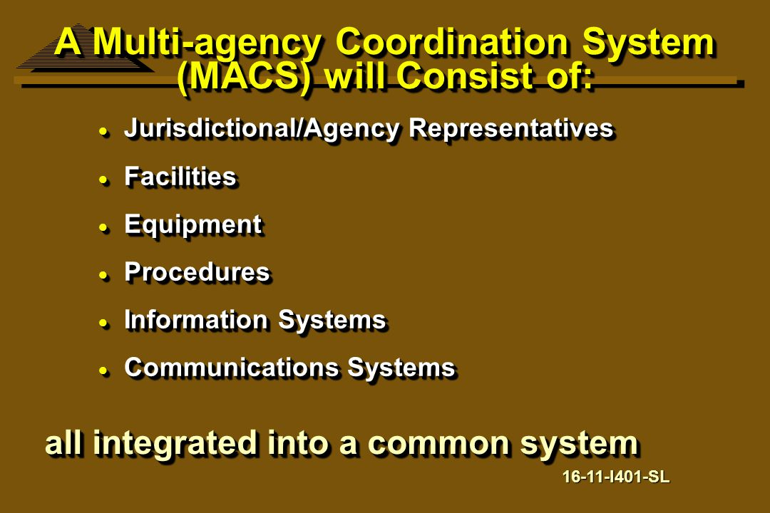 A Multi-agency Coordination System (MACS) will Consist of: