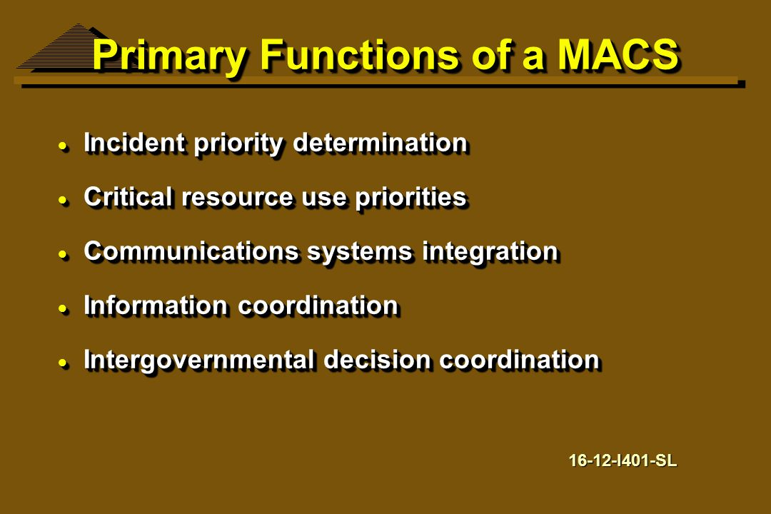 Primary Functions of a MACS