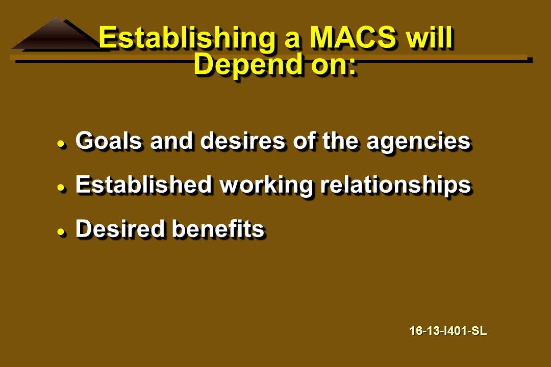 Establishing a MACS will Depend on: