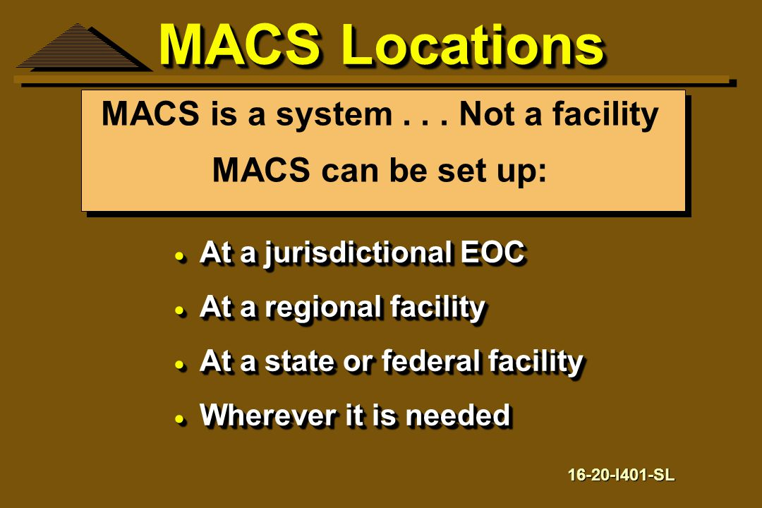 MACS is a system . . . Not a facility