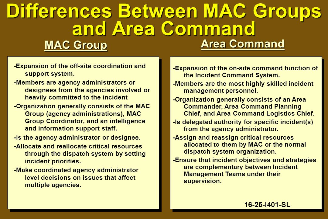 Differences Between MAC Groups and Area Command