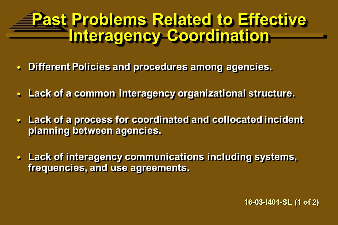 Past Problems Related to Effective Interagency Coordination