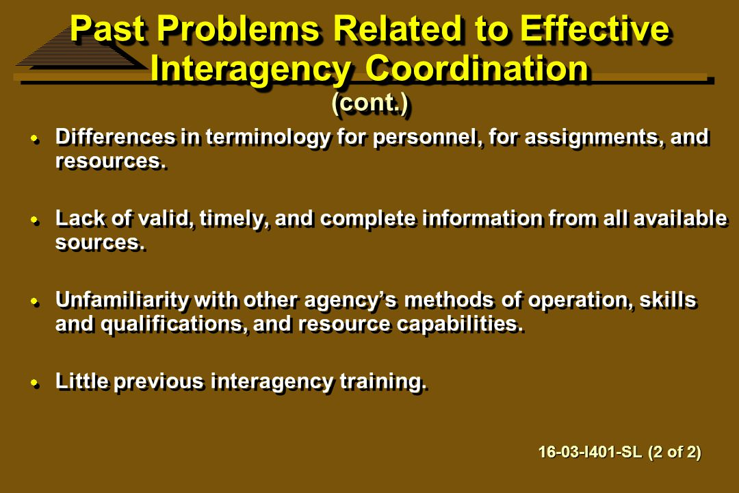 Past Problems Related to Effective Interagency Coordination (cont.)