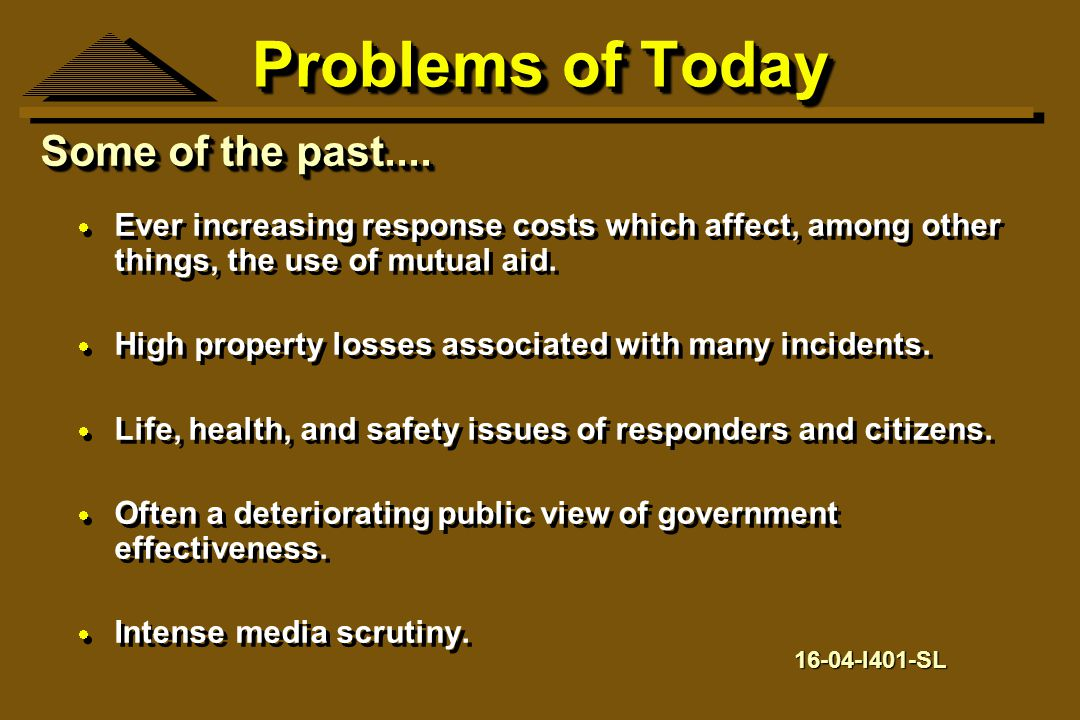 Problems of Today Some of the past....