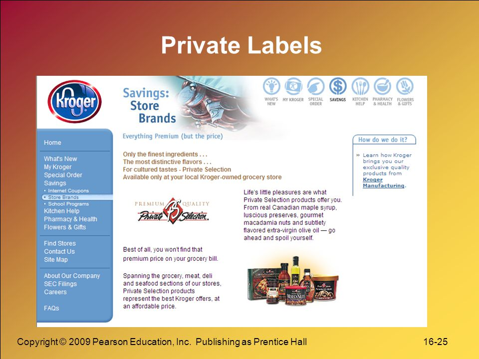 Private Labels Copyright © 2009 Pearson Education, Inc.