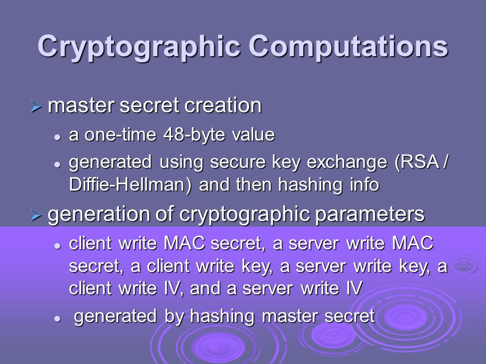 Cryptographic Computations