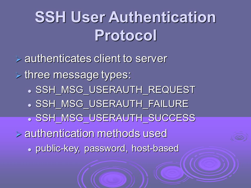 SSH User Authentication Protocol