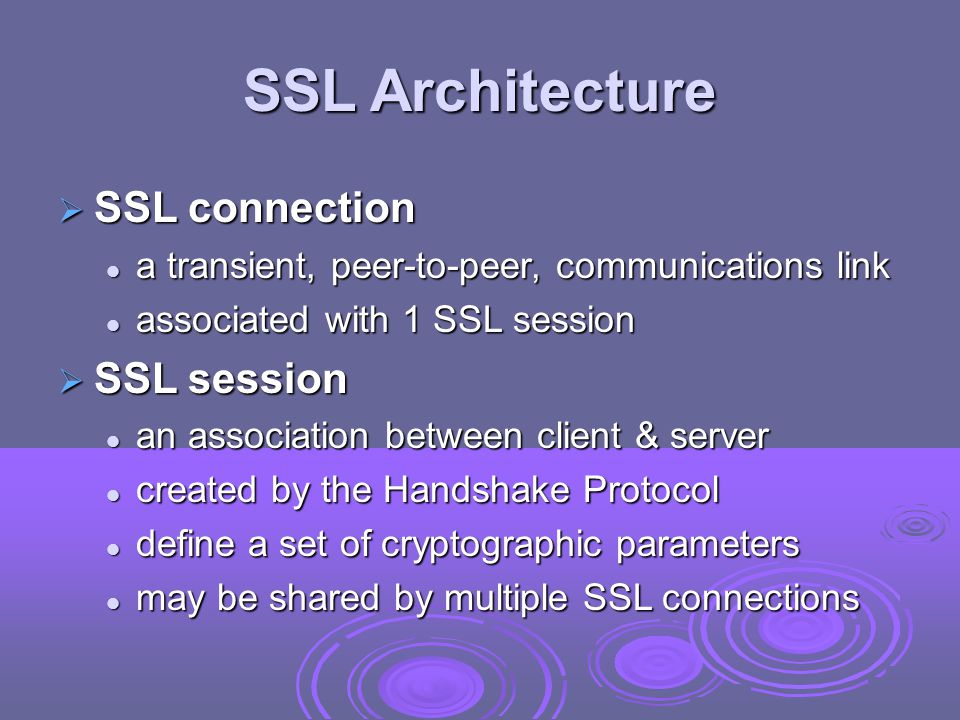 SSL Architecture SSL connection SSL session