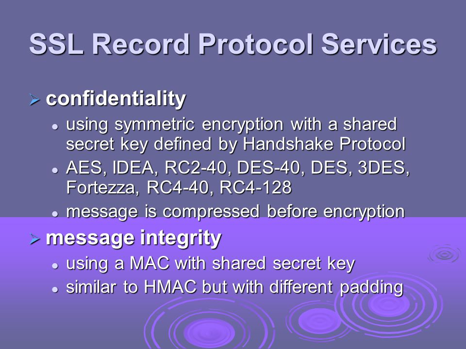 SSL Record Protocol Services