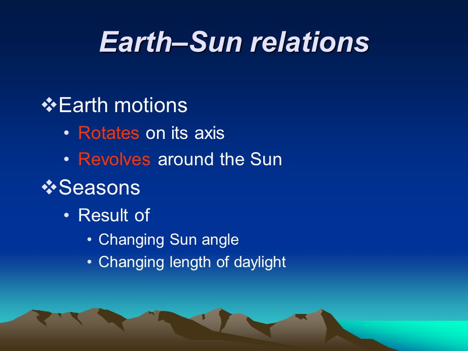 Earth–Sun relations Earth motions Seasons Rotates on its axis