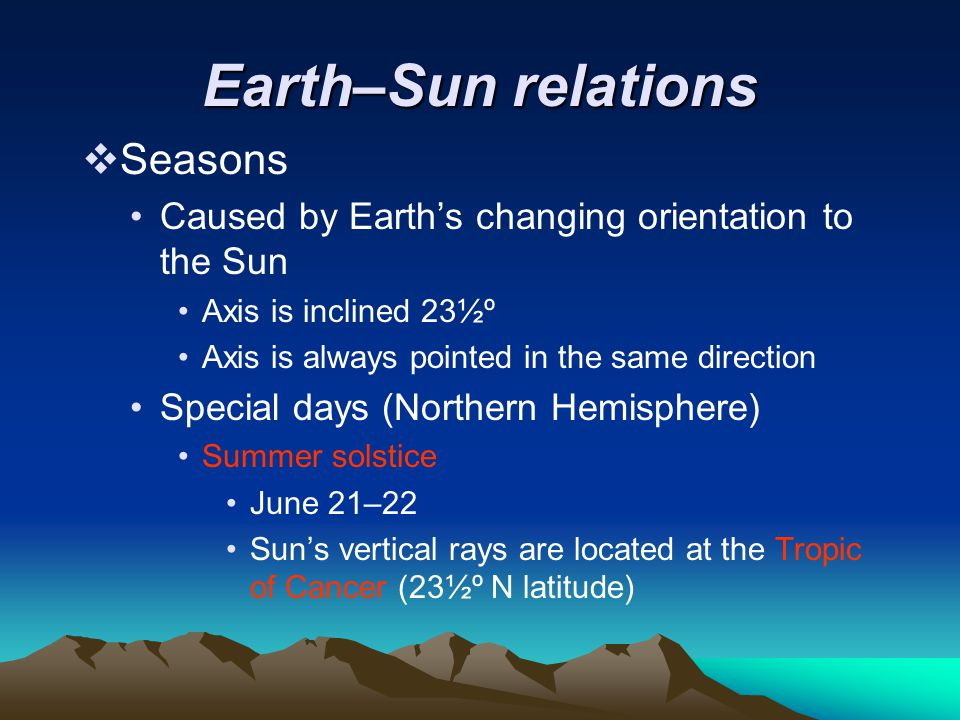 Earth–Sun relations Seasons