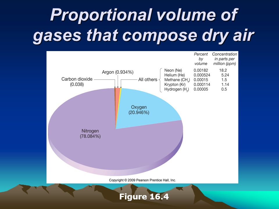 Proportional volume of gases that compose dry air