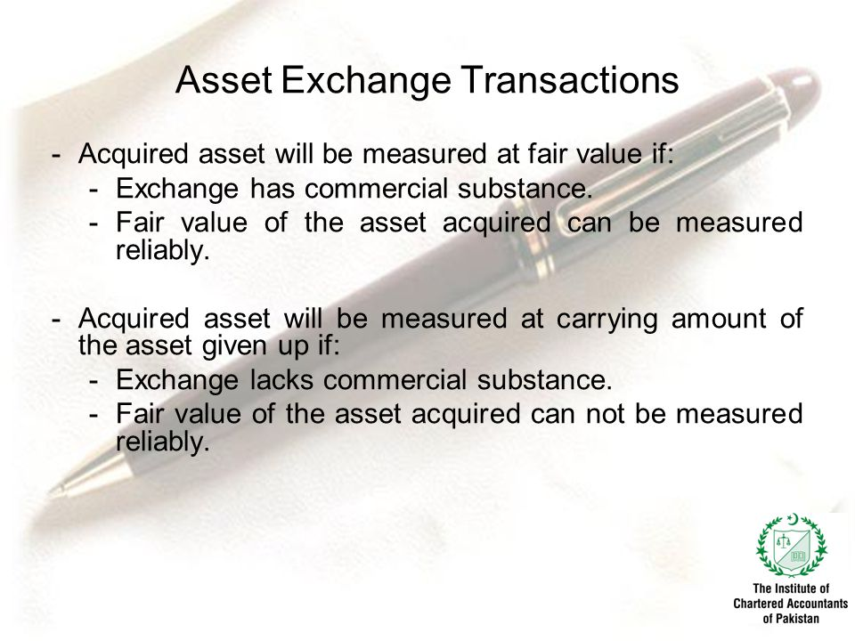 Asset Exchange Transactions