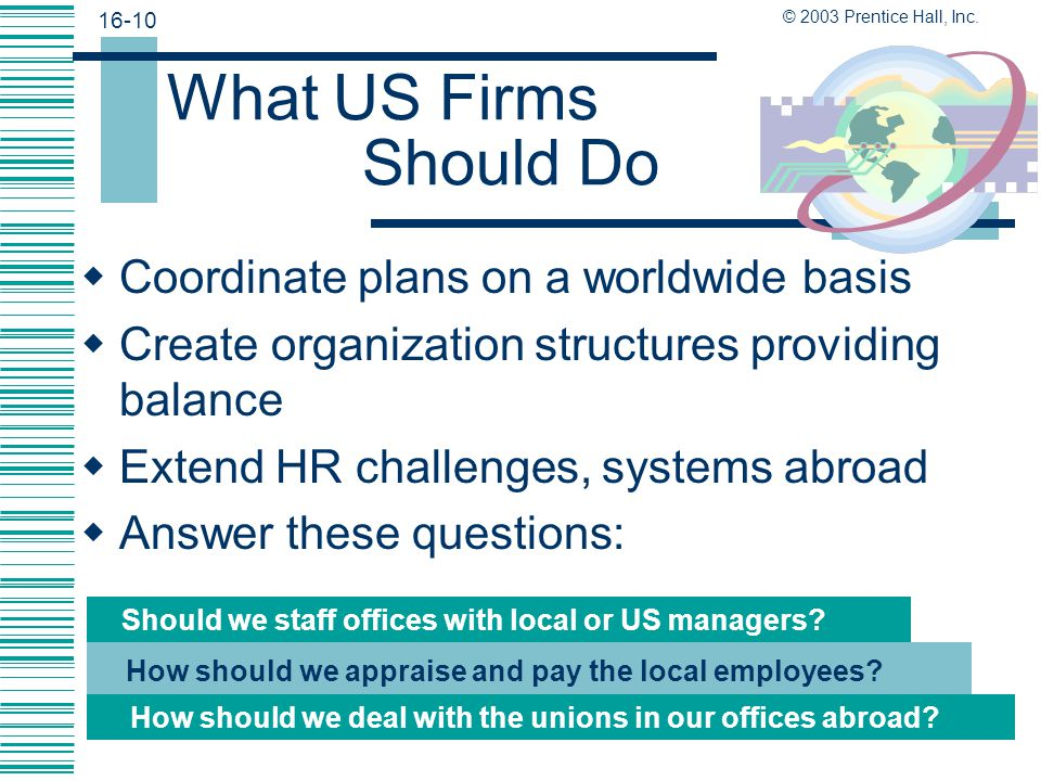 What US Firms Should Do Coordinate plans on a worldwide basis