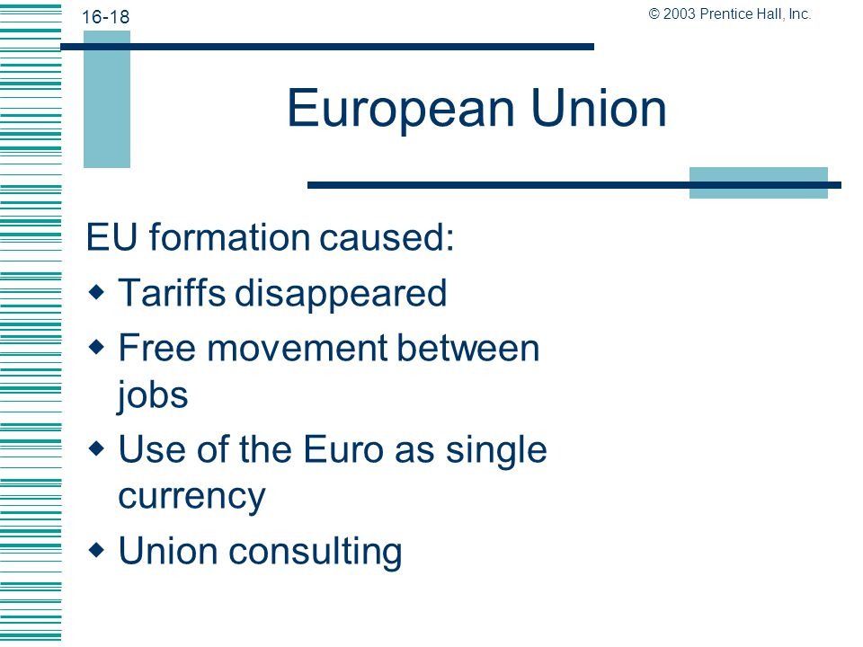 European Union EU formation caused: Tariffs disappeared
