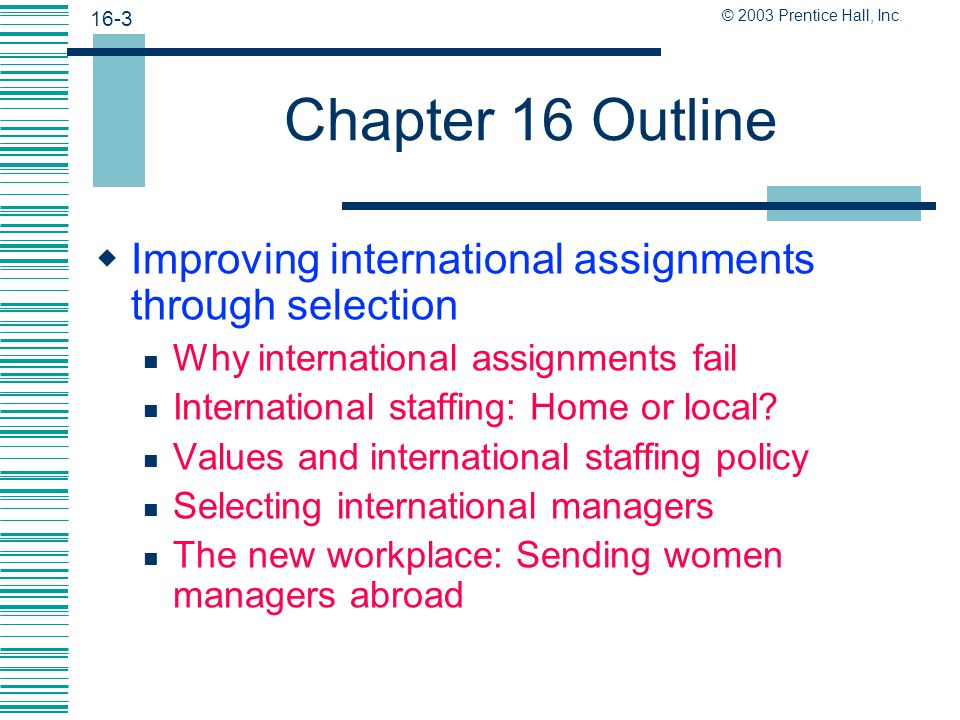 Chapter 16 Outline Improving international assignments through selection. Why international assignments fail.