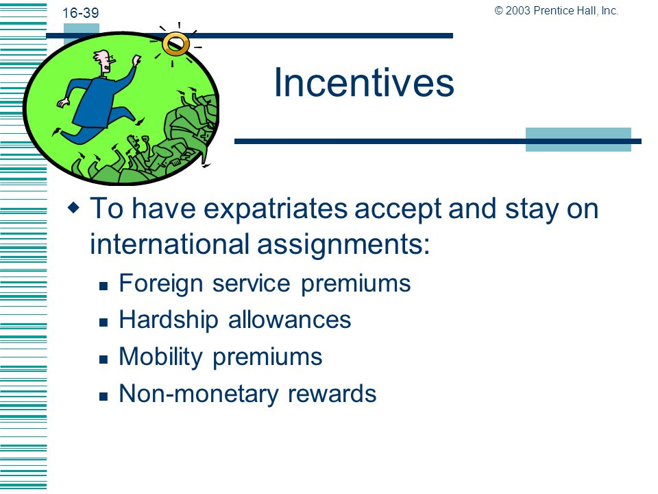 Incentives To have expatriates accept and stay on international assignments: Foreign service premiums.