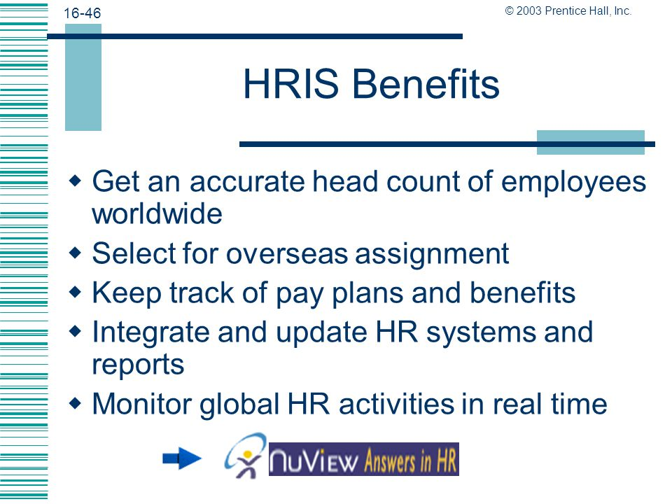 HRIS Benefits Get an accurate head count of employees worldwide