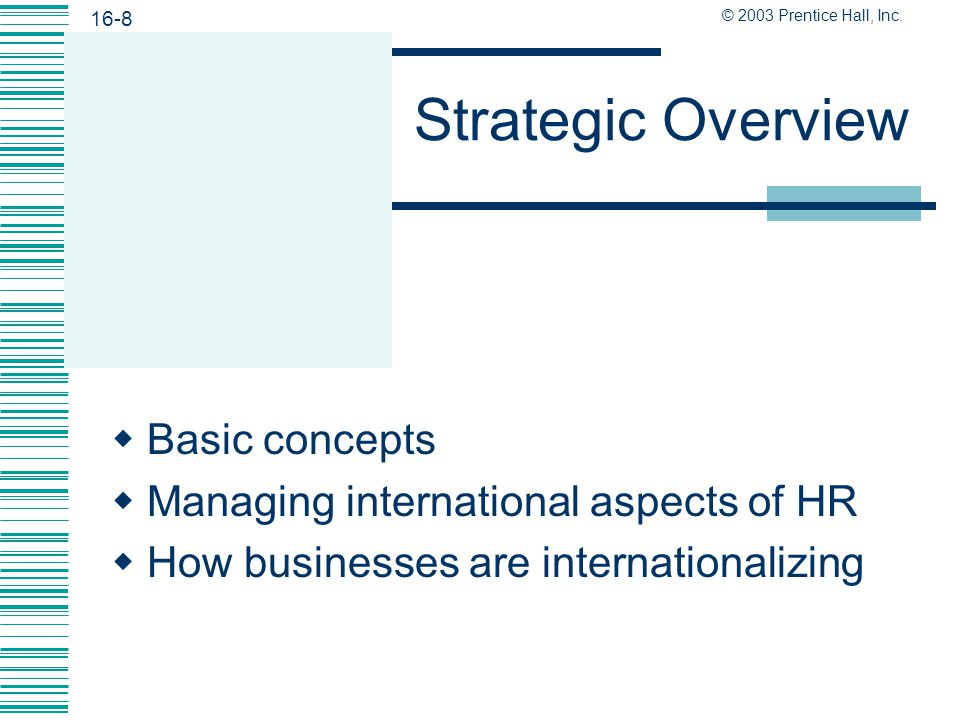 Strategic Overview Basic concepts Managing international aspects of HR