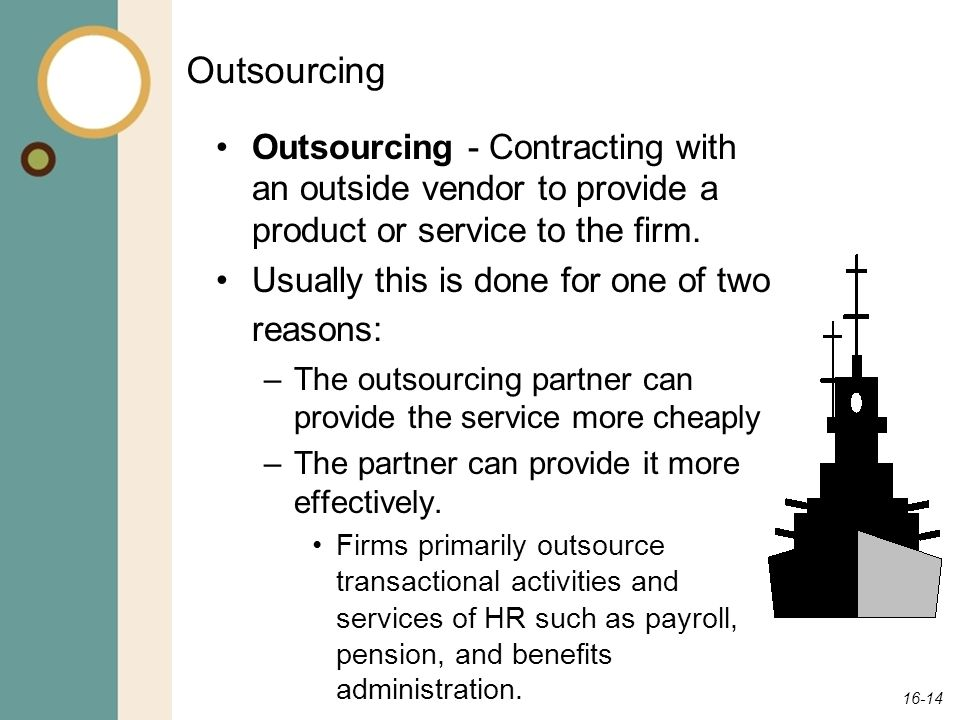 Outsourcing Outsourcing - Contracting with an outside vendor to provide a product or service to the firm.