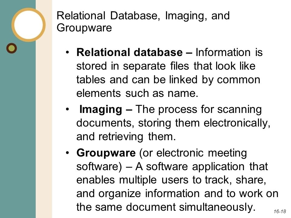 Relational Database, Imaging, and Groupware