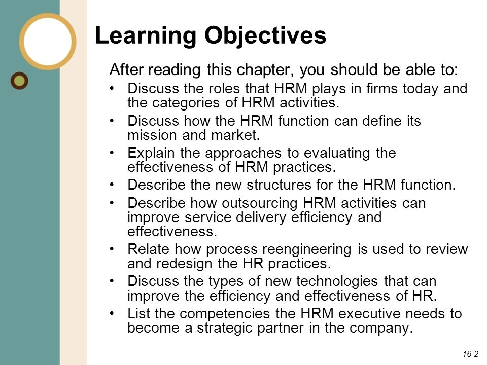 Learning Objectives After reading this chapter, you should be able to: