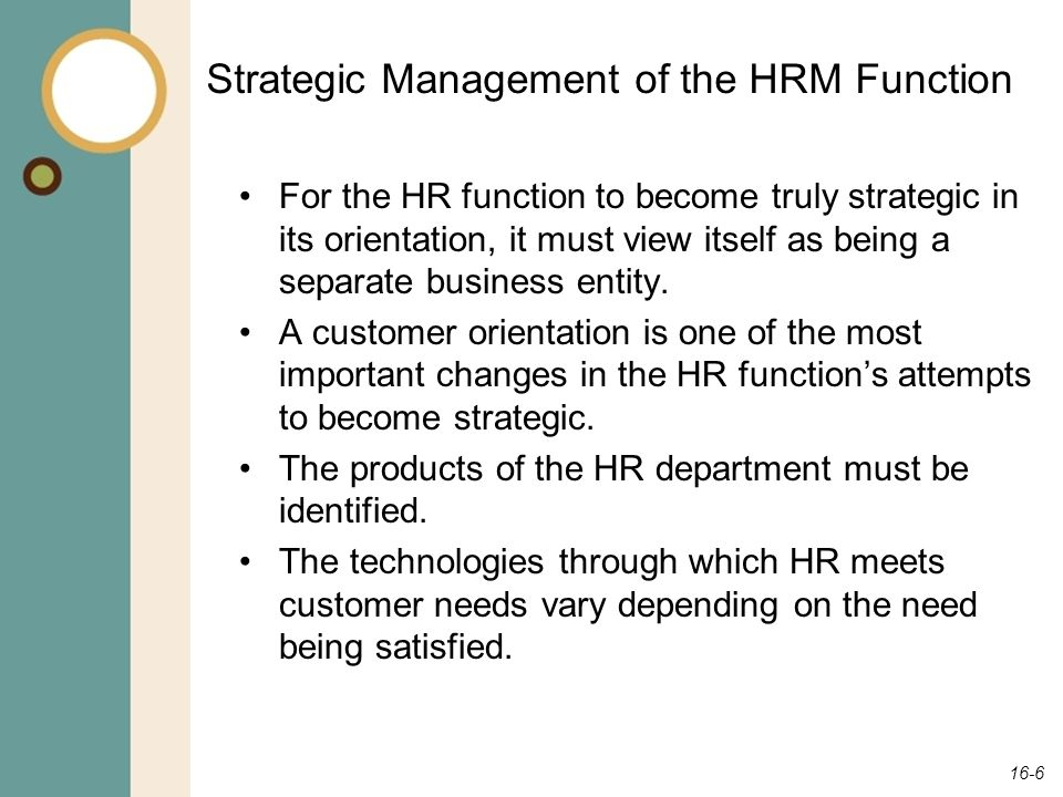 Strategic Management of the HRM Function