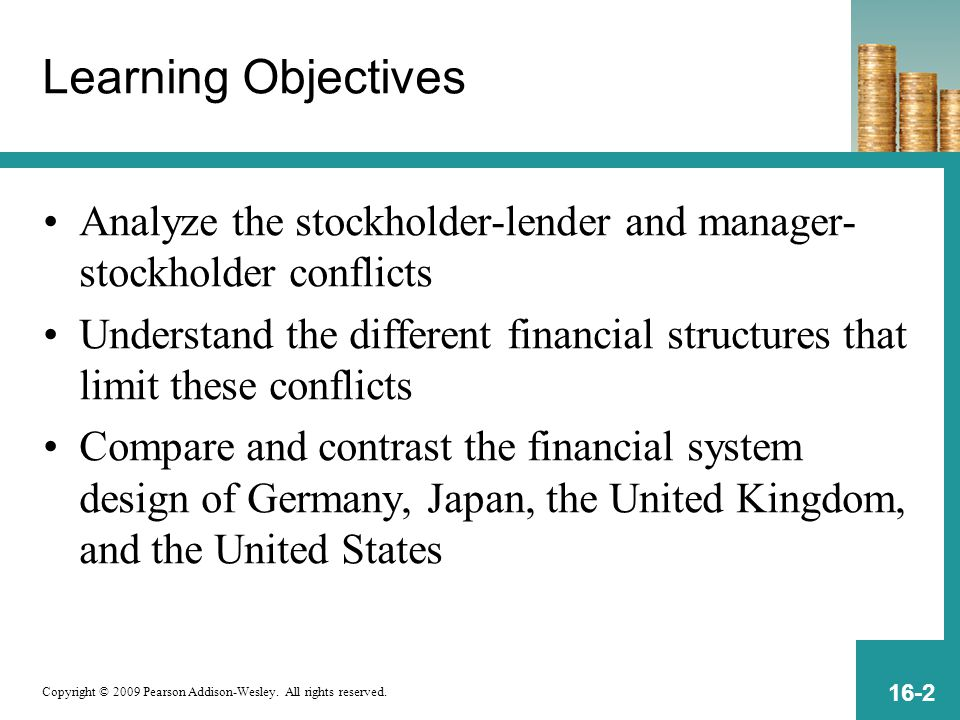 Learning Objectives Analyze the stockholder-lender and manager-stockholder conflicts.