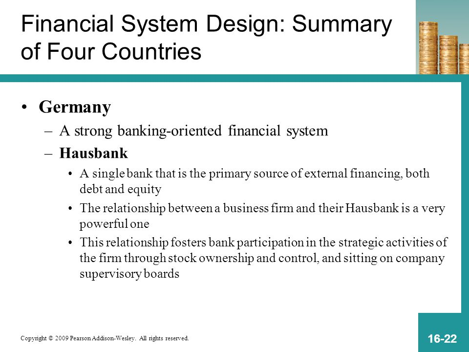 Financial System Design: Summary of Four Countries