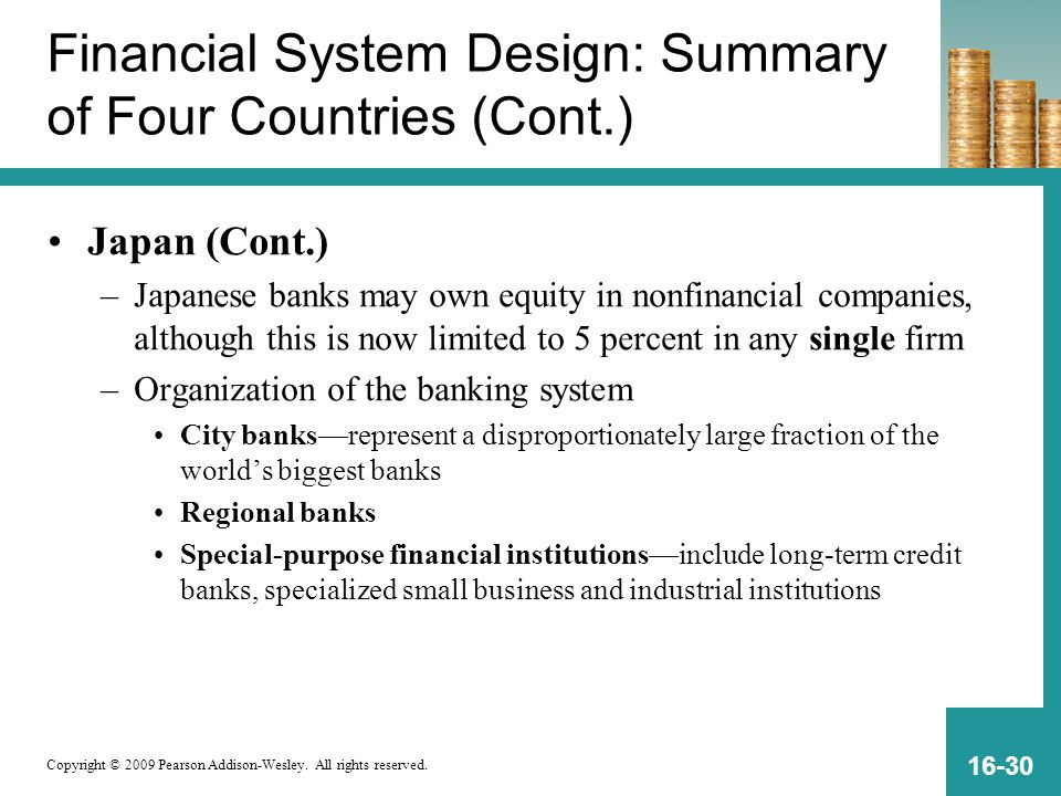 Financial System Design: Summary of Four Countries (Cont.)