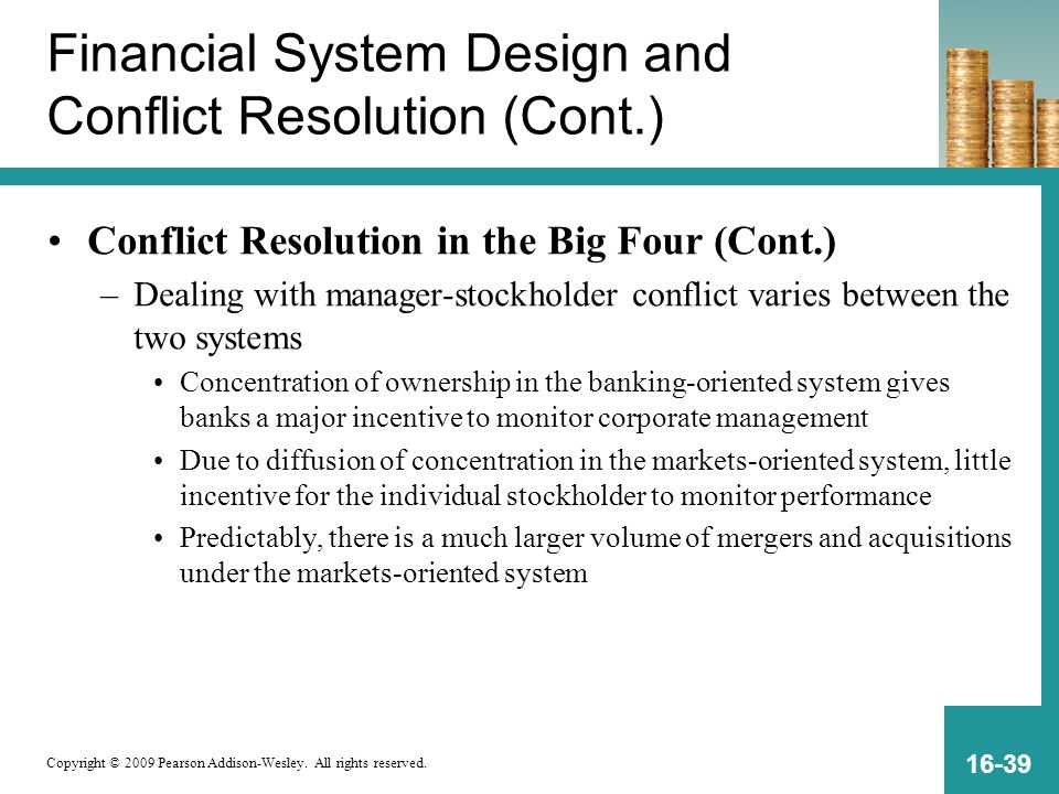 Financial System Design and Conflict Resolution (Cont.)