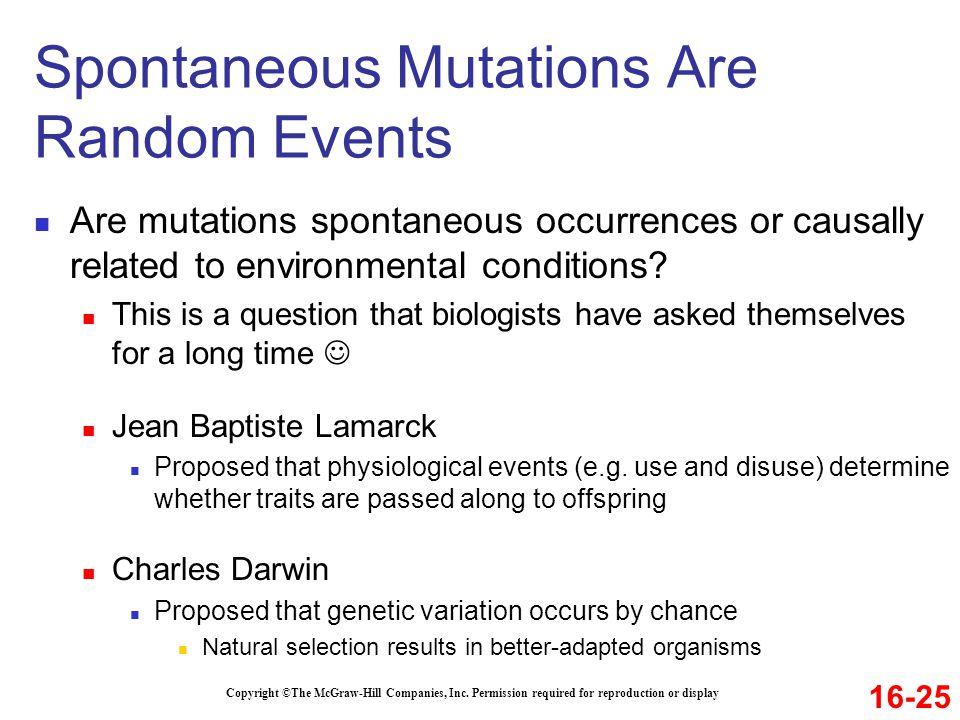 Spontaneous Mutations Are Random Events