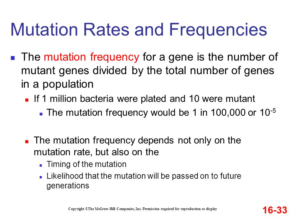 Mutation Rates and Frequencies